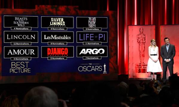 Seth MacFarlane e Emma Stone anunciam a categoria de Melhor Filme