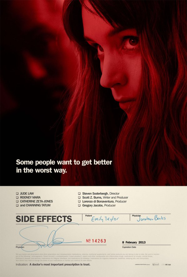 Pôster de Side Effects, de Steven Soderbergh (photo by beyondhollywood.com)