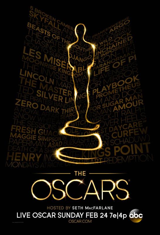 Pôster oficial do Oscar 2013 no tradicional preto e dourado (art by oscars.org)