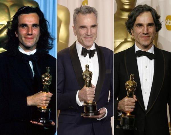 Daniel Day-Lewis em seus três auges no Oscar: 1990, 2008 e 2013 (photo by nydailynews.com)