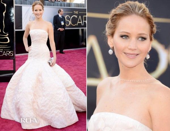 Em terceiro lugar, Jennifer Lawrence abusa um pouco também com Dior, mas ela pode (photo by http://www.redcarpet-fashionawards.com/page/5/)