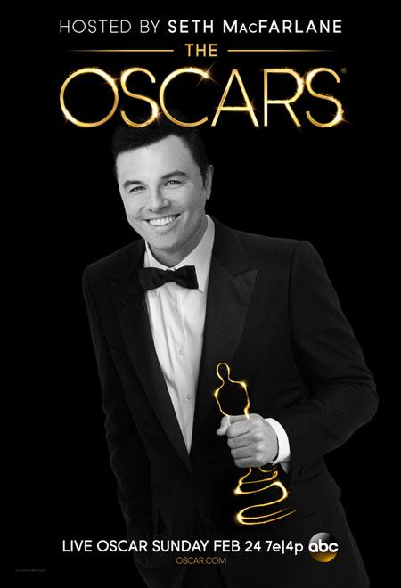 Seth MacFarlane em um das três versões do pôster do Oscar 2013 (photo by perezhilton.com)