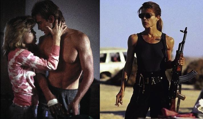 Linda Hamilton nos dois filmes de O Exterminador do Futuro (montagem por bodygeeks.com)