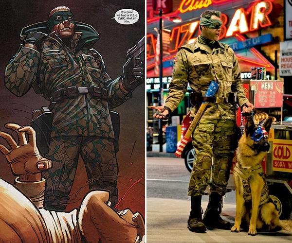 À esquerda, o personagem Coronel Stars and Stripes no quadrinho de Mark Millar e John Romita Jr. Já à direita, temos Jim Carrey e seu pastor alemão caracterizados perfeitamente (photo by www.empireonline.com)