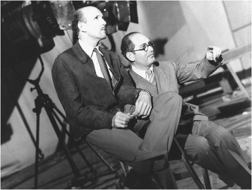À esquerda, Michael Powell ao lado de seu colaborador assíduo Emeric Pressburger (photo by www.filmreference.com)