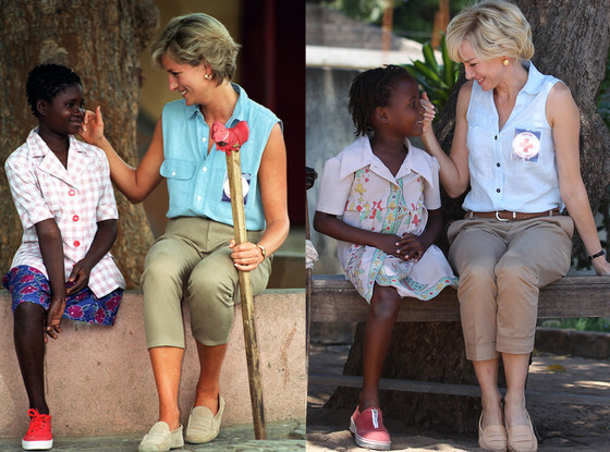 Naomi Watts (à direita) reproduz os mesmos gestos de Princesa Diana em Diana (photo by eonline.com)