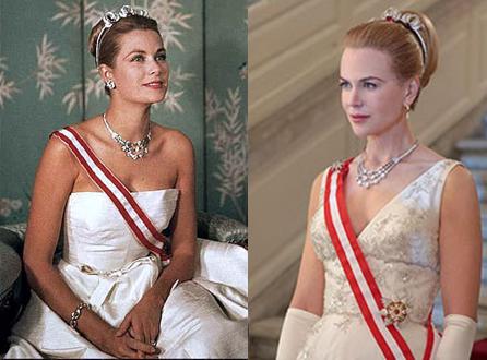 À esquerda, Grace Kelly. Nicole Kidman enfrenta dura desafio de trazer a princesa e atriz de volta à vida em Grace of Monaco (photo by mamamia.au)