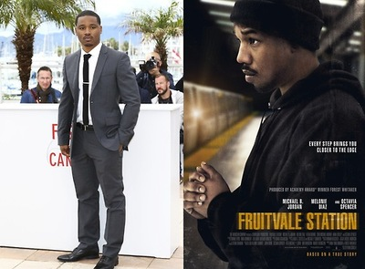 Michael B. Jordan no Festival de Cannes e no pôster do filme (photo by www.fruitvalefilm.com)