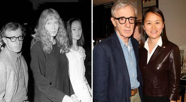 Woody Allen, Mia Farrow e Soon-Yi Previn em dois tempos (photo by http://www.sabado.pt)