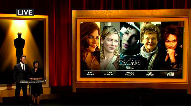 O ator Chris Hemsworth e a presidente da Academia, Cheryl Boone Isaac, divulgam as indicadas a Melhor Atriz (photo by cnikky.com)