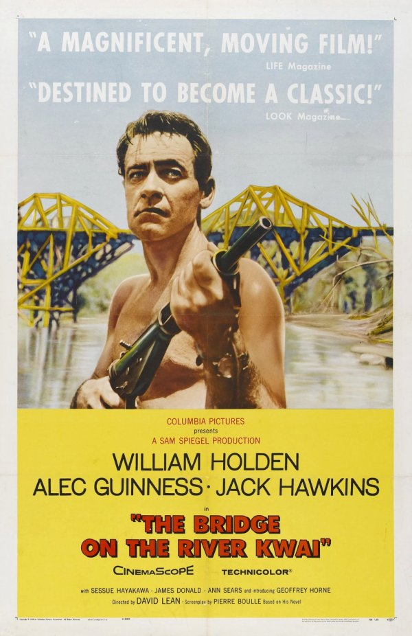 A Ponte do Rio Kwai (The Bridge on the River Kwai), de David Lean: 7 Oscars (photo by impawards.com)