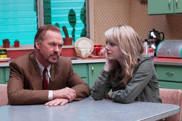 Michael Keaton e Emma Stone em cena de Birdman: ambos foram indicados para ator e atriz coadjuvante. (photo by outnow.ch)