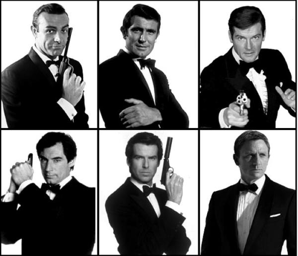 Do topo da esquerda em sentido horário:  Sean Connery, George Lazenby, Roger Moore, Daniel Craig, Pierce Brosnan e Timothy Dalton (photo by thekliqnation.com)