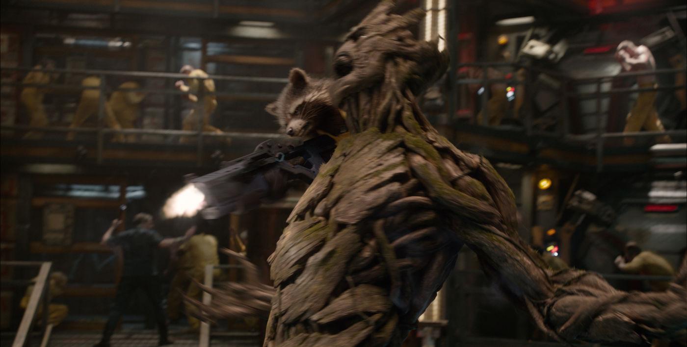 Rocket e Groot em ação em Guardiões da Galáxia (photo by outnow.ch)