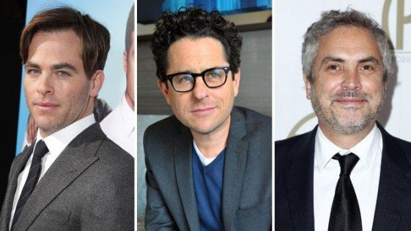 Da esquerda pra direita: Chris Pine, J.J. Abrams e Alfonso Cuarón anunciam os indicados ao Oscar 2015 (photo by hollywoodreporter.com)