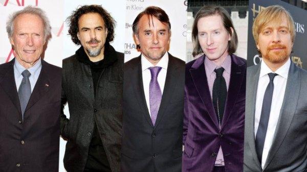 Da esquerda pra direita: Clint Eastwood, Alejandro González Iñárritu, Richard Linklater, Wes Anderson e Mortem Tyldum são os indicados ao DGA 2015 (photo by variety.com)