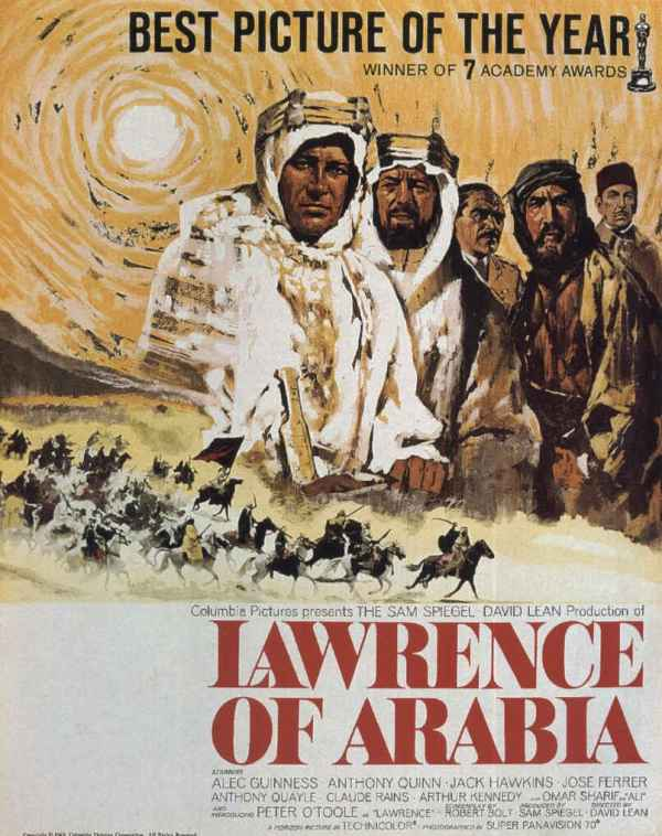 Lawrence da Arábia (Lawrence of Arabia), de David Lean: 7 Oscars