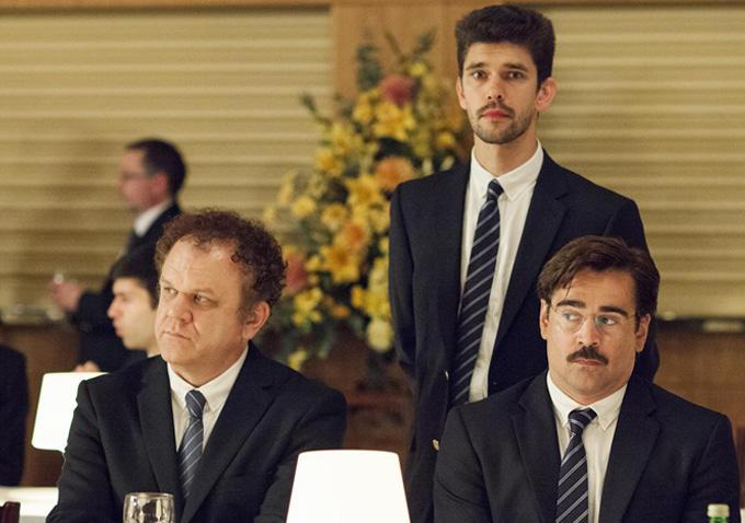 Da esquerda para a direita: John C. Reilly, Ben Wishaw e Colin Farrell em The Lobster (photo by indiewire.com)