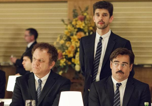 Da esquerda para a direita: John C. Reilly, Ben Wishaw e Colin Farrell em The Lobster (photo by indiewire.com)