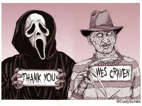 Ghostface e Freddy Kruger em homenagem de Cody Schibi (photo by codyschibi.com)