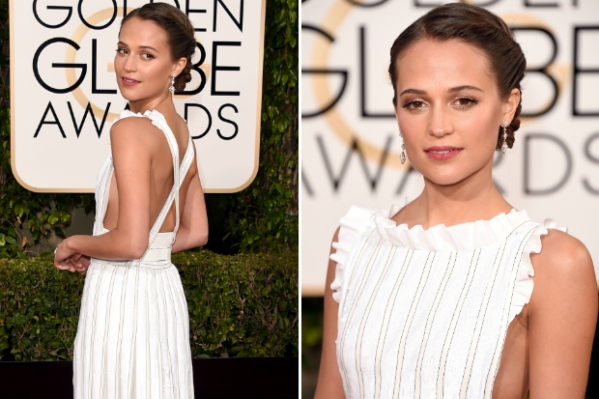 Alicia Vikander no tapete vermelho do Globo de Ouro (photo by celebuzz.com)