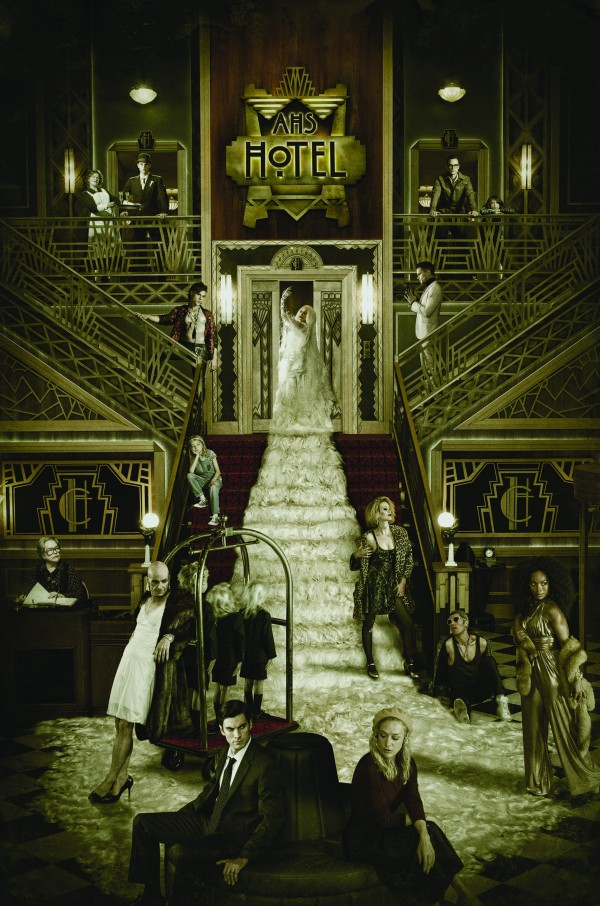 AMERICAN HORROR STORY: HOTEL -- Pictured: (top row, l-r) Mare Winningham as Miss Evers, Evan Peters as Mr. March, Cheyenne Jackson as Will Drake, Lyric Lennon as Lachlan Drake; (middle row, l-r) Finn Wittrock as Tristan, Lennon Henry as Holden Lowe, Lady Gaga as The Countess, Matt Bomer as Donovan; (front row, l-r) Kathy Bates as Iris, Denis O'Hare as Liz Taylor, Wes Bentley as John Lowe, Chloe Sevigny as Alex Lowe, Sarah Paulson as Sally, Max Greenfield as Gabriel, Angela Bassett as Ramona Royale. CR: Frank Ockenfels/FX Networks