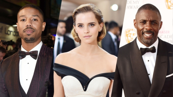 três novos membros da Academia: Michael B. Jordan, Emma Watson e Idris Elba (Photo by Rex Shutterstock through Variety)