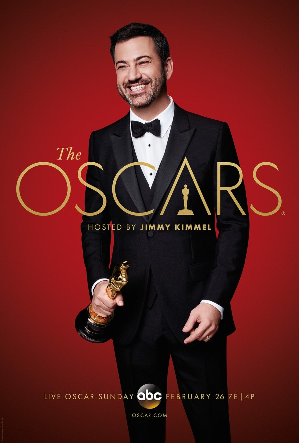 Pôster oficial do Oscar 2017, com o host Jimmy Kimmel